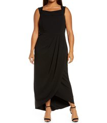 women's xscape tulip hem gown, size 18w - black