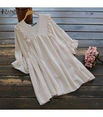 blusa casual con cuello v zanzea para mujer-beige