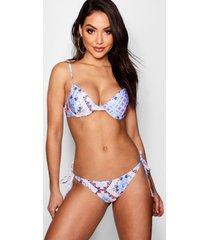 mix & match tile print push up plunge bikini top, blue