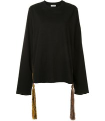jil sander tassel-detail sweatshirt - black