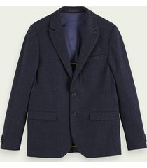 scotch & soda klassieke single-breasted blazer van een wolmix