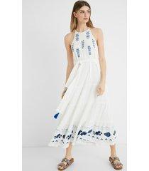 midi-dress linen halter - white - xl