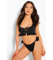frill detail tanga bikini briefs, black