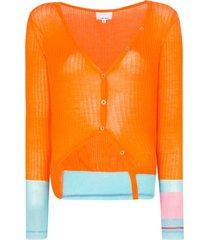 i-am-chen contrast-cuff cardigan - orange