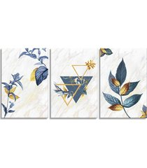 quadro 60x120cm escandinavo floral corinto canvas decoraçáo - tricae