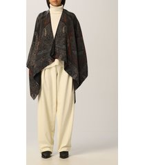 etro cape etro cape with geometric and paisley motifs