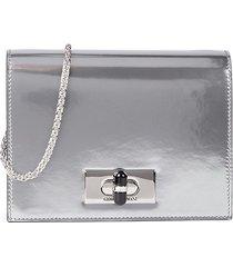 giorgio armani women's mini metallic leather crossbody bag - silver