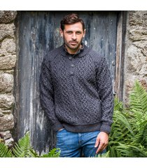 the kilkee aran sweater charcoal m