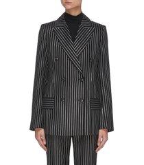 pinstripe print double breasted virgin wool blend blazer