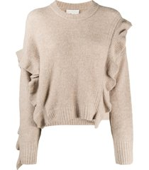 3.1 phillip lim ls lofty cropped ruffle pullover - neutrals