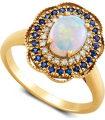 multi-gemstone (1-1/5 ct. t.w.) & diamond (1/10 ct. t.w.) halo ring in 14k gold
