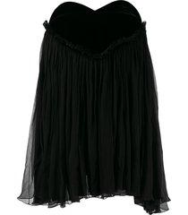 saint laurent plissé babydoll mini dress - black