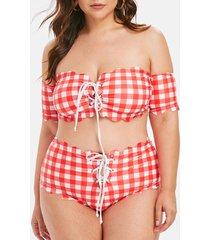 plaid lace up scalloped off shoulder plus size bikini swimsuit