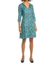 women's rebecca taylor margaux paisley silk blend shift dress, size 6 - green