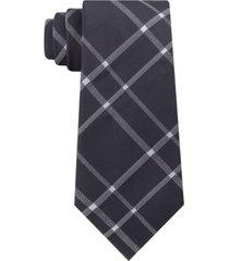 calvin klein men's stitch plaid slim silk tie