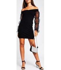 river island womens black bardot orgnza puff sleeve bodycon dress