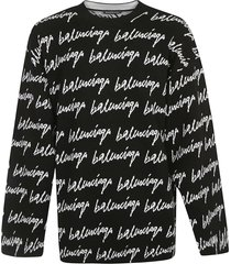balenciaga all-over signature logo sweater