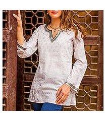 cotton tunic, 'silver diva' (india)