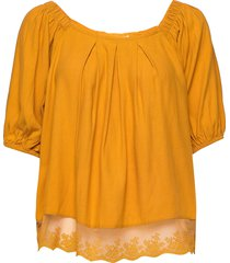 hazelcr blouse blouses short-sleeved gul cream