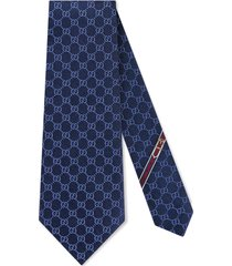 men's gucci fedra silk jacquard tie, size one size - blue