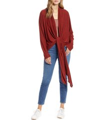 women's loveappella drape tie front cardigan, size large - red