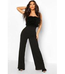 feather top wide leg bandeau jumpsuit, black