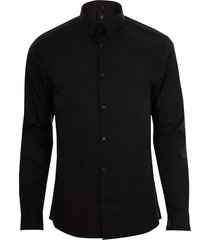river island mens big & tall black long sleeve slim fit shirt