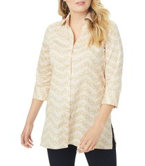 plus size women's foxcroft pamela chevron chain non-iron cotton blend tunic blouse, size 22w - ivory