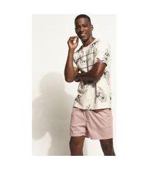 short de sarja masculino com cordão e bolsos rosa claro