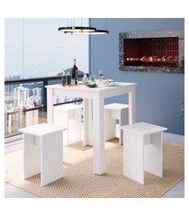 conjunto mesa quadrada com 4 banquetas art in móveis cj700 amalfi