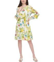 calvin klein belted floral-print dress