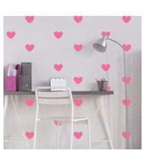 adesivo de parede infantil coraçáo rosa