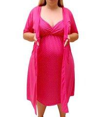 conjunto de camisola plus size linda gestante com robe maternidade feminino