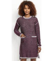 two-tone signature merino sweater dress, x large