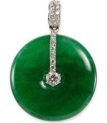 diamond jade 18k white gold round pendant