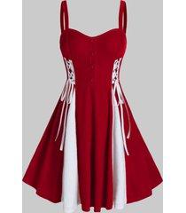 plus size button lace up velour a line dress