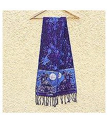 cotton batik shawl, 'blue moonlight village' (ghana)