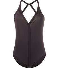 rick owens v-neck criss cross back swimsuit - red