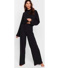 womens chill out wide-leg pants lounge set - black