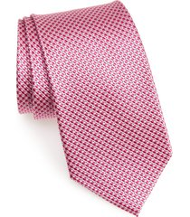 men's nordstrom men's shop grid silk tie, size regular - pink