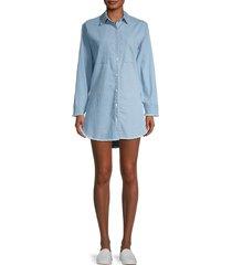 stellah women's frayed-trim denim mini shirtdress - denim - size l