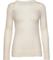 pullover ls stickad tröja vit rosemunde