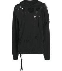 unravel project mesh-detailing ripped hoodie - black