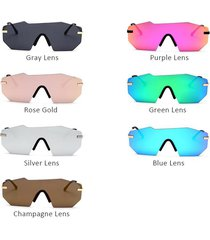 new luxury brand rimless sunglasses for women fashion one piece lens designer