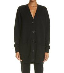 women's givenchy spike logo wool & cashmere cardigan, size medium - black