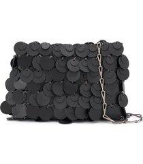 paco rabanne sequin shoulder bag - black