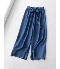 dark blue denim crop wide leg pants womens high waisted denim palazzo pants nwt