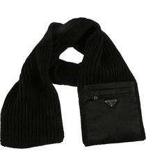 prada pocket applique knit scarf