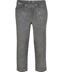 folkdräktsinspirerade jeans med used-effekt, 3/4-längd