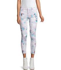 crop skinny 3d pattern jeans